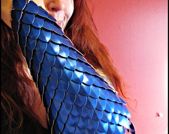 Blue Scale Scalemail full arm bracer DragonScale chainmail armor LARP gauntlet