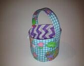 SALE, Vintage Gingham and Lavender Chevron - Reversible Easter Basket
