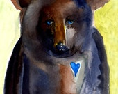 Black Bear Blue Heart Blue Eyes Art Painting Children's Room