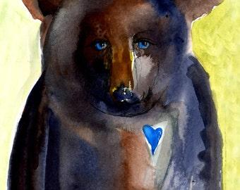 Black Bear Blue Heart Blue Eyes Art Painting Children's Room