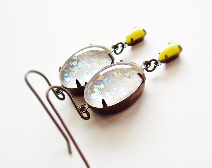 Iridescent White Glitter Earrings Vintage Domed Glass Cabochons White Glitter Jewelry Nail Polish Snow Jewelry