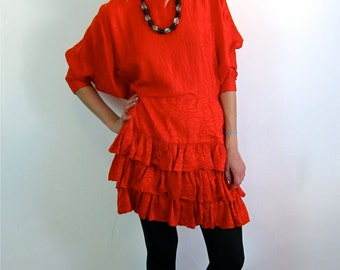 Red Silk Ruffle Cocktail Dress