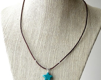 Turquoise Blue Star Necklace.  Magnesite, Howlite, Rustic, Solid 925 Sterling Silver SALE