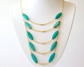 Layered Gold Chain Gemstone Necklace - Magnesite - Teal, Turquoise - The Bohemian: Scorpion Chest Plate