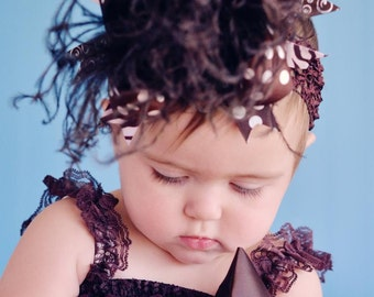 Brown Polkadot Over The Top Funky Birthday Boutique Hair Bow on matching Headband