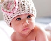 Baby Girl Hat, Baby Girl Crochet Hat, Crochet Baby Hat, Beanie Hat with ears and Flower, Infant Hat, 0-3, 3-6 or 6-12 months, MADE TO ORDER