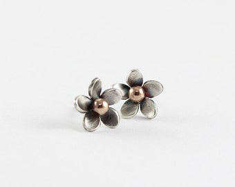 Plumeria Silver Flower Post Earrings, Beach Jewelry, Hawaiian Frangipani Flower, Tropical Flowers