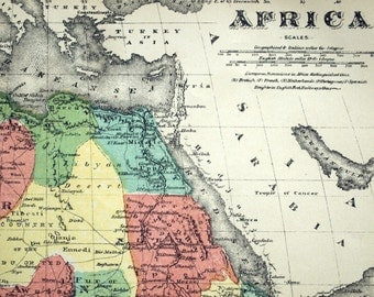 1880 Antique Map of Africa - Canary Islands, Madeira Isles, and Mouths of the Nile - Hand-coloured Rare Map