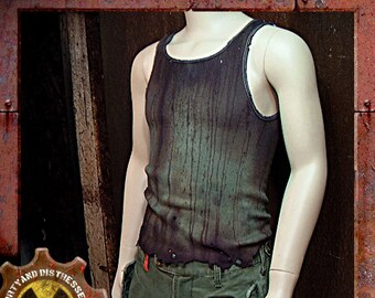Made to Order a Mens One of a Kind Grungy and Green Dirty and Distressed Wasteland Tank Top
