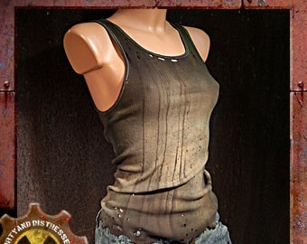 Made to Order a Womens One of a Kind Tan and Tattered Dirty and Distressed Wasteland Tank Top