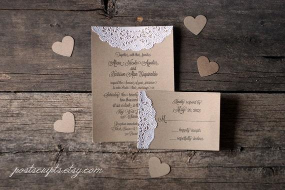 Handmade Rustic Wedding Invitations: Items Similar To Handmade Vintage Lace Doily Wedding