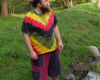Rastaman V-Stripe Tie Dye T-Shirt (Made By Hippies Tie Dye In Stock  in Sizes Small to 4XL) (Fruit of the Loom)