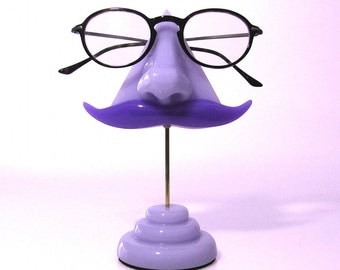 Amethyst Eyeglass Stand art object, Nose Eyeglass Holder, Mustache Key Hook, Purple, Orchid