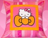 """A BIG Pillow for a BIG Hello Kitty Fan - pink and orange 24"""" x 24"""" Hello Kitty pillow sham"""