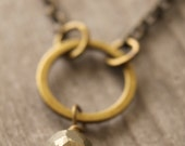 Pyrite necklace in antique brass