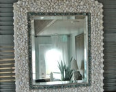 Turquoise and White Shell Mirror