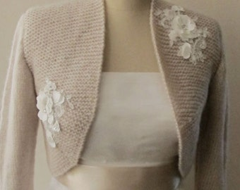 Bridal Bolero, Wedding Wool Shrug, Champagne Wedding Jacket, Knit Boleros, 3/4 Sleeve Bolero, Bridal Wool Mohair handknit Cardigan Sweater