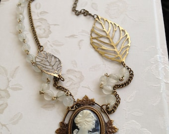Vintage Upcycled Black and White Resin Cameo Rosary Leaf Necklace