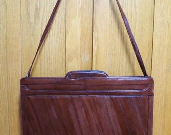 Vintage Satchel, Leather Satchel, Red Skin Satchel, Leather Brief Case, Holiday satchel, Green Market Vintage