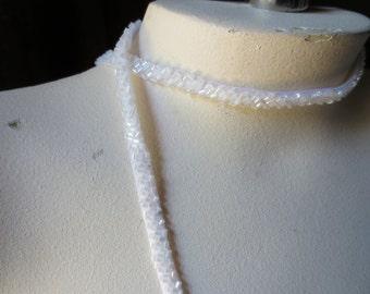 "WHITE Beaded Trim 18"" for Bridal Straps, Headbands, Sashes, Crafting"