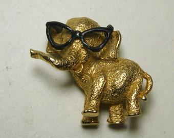 Tiny Elephant Pin w Horn Rim Eyeglasses, 1960s Elephant Nerd Geek, Adorable Gold Brooch Pachyderm in Black Spectacles