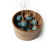 Felted Acorn Ornaments - set of 10 in blues