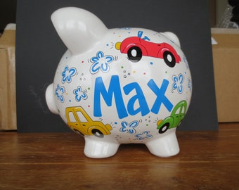 Personalized Piggy Bank- Cars, Car Bank, Baby Boy, Baby Shower, Piggy Bank, Transportation