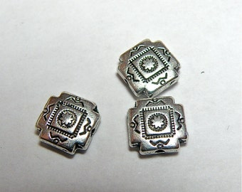 12 Pewter Southwestern-Style Cross Beads  -- SMALLER SIZE
