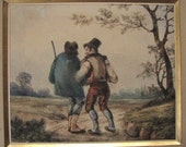 Antique Original Miniature Watercolor/Painting - French School - Louis Moullin - Listed Artist