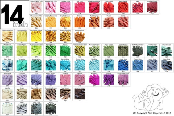 Your Choice of 100 YKK Brand 14 Inch Zippers Mix and Match - 65 Colors to choose from!