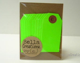 10 Neon Green Gift Tags - Parcel Tags