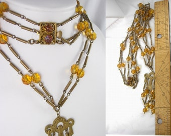 Vintage Czech Necklace DRIPPING DECO Egyptian Revival Glass chandelier Lava glass clasp