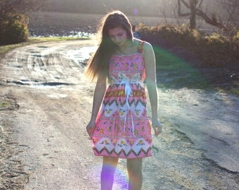Altered vintage pink hipster dress with ribbon tie, size small medium