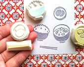 japanese meal stamp set. foo hand carved rubber stamps. cooking stamp. rice bowl, pickels, miso soup, chop sticks. scrapbooking. set of 4