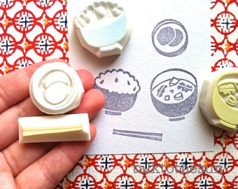 japanese meal stamp set. food hand carved rubber stamps. cooking stamp. rice bowl, pickels, miso soup, chop sticks. card making. set of 4