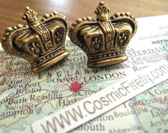 Royal Crown Cufflinks Antiqued Brass Cufflinks Vintage Inspired Style Gothic Victorian Steampunk Men's Cuff Links