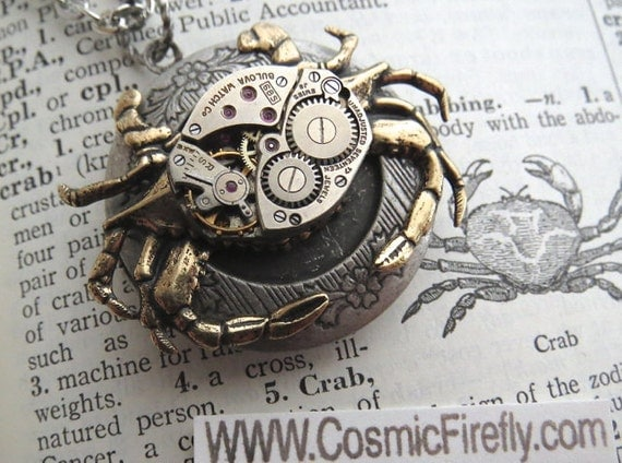 Steampunk Crab Locket Necklace Gold Brass Crab Necklace Nautical Steampunk Necklace Vintage Watch Movement Gothic Victorian Woman's Locket