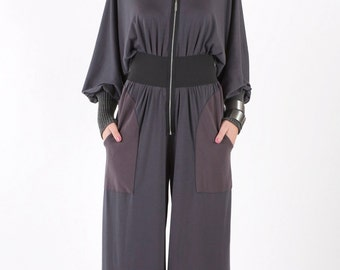 Long Sleeve Jumpsuit with CF Zipper and Rib Collar & Cuffs