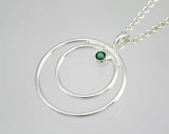 Double Circle Neck w-Stone (Emerald) made to order