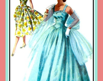 Vintage 1955- Stunning Evening Gown -Cocktail Dress- Sewing Pattern -Double Shelf Bodice- Dreamy Full Gathered Skirt -Uncut- Size 14 -Rare