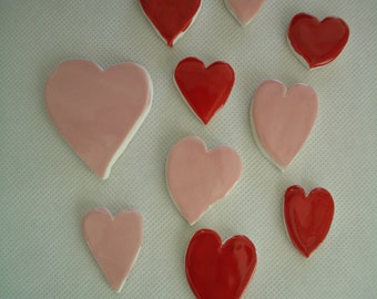 K10 - Floating PINK, Red HEARTS - Ceramic Mosaic Tiles
