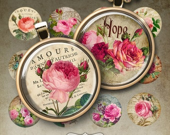 1 inch (25mm) and 1.5 inch size Circle Images ROSE GARDEN  Digital Collage Sheet Printable Download for pendants bottle caps bezel cabs
