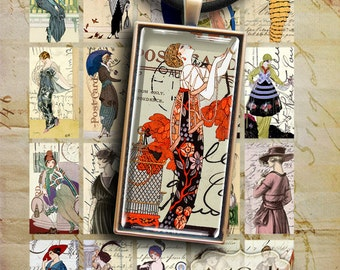 1x2 inch size FASHION DOMINOES clip art Digital Collage Sheet vintage Printable Download for glass or resin pendants bezel settings magnets