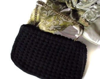 50s Purse Seligman of NY Crochet Puff Black Handbag