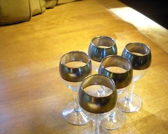 5 Silver Trimed Cordials