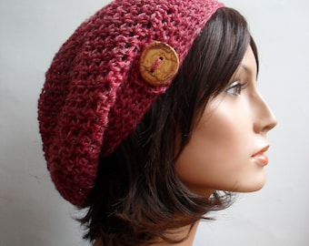 Crochet Slouchy Beanie Hat - Handmade Hat - Red Button Tab Slouchy Hat Winter Accessories Hemp Wool Made to Order