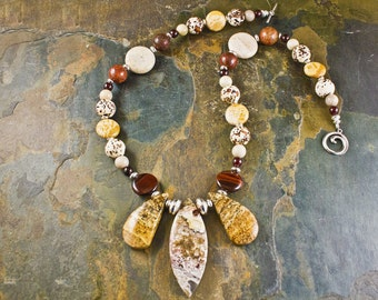 Handcrafted Jasper, Garnet, Petrified Wood, Fossil Coral, Tiger's Eye, Agate, and Sterling Silver Necklace (N098)