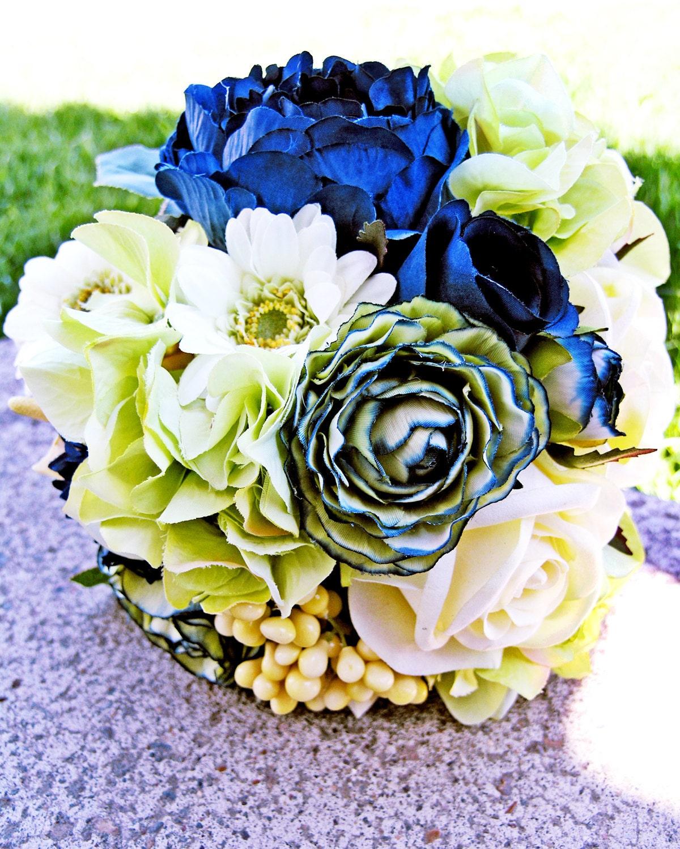 Mint Wedding Flowers: Navy Blue Bridal Bouquet Mint Green Wedding Flowers