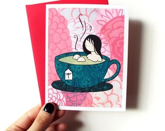 Tea Bath - cute blank greeting card with envelope