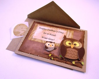 Happy Father's Day Card / A Real Wise Guy / Owl for Dad/ QueenBeeInspirations